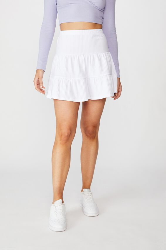 Selena Tiered Skirt, WHITE