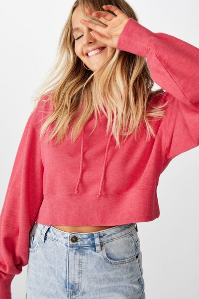 Gracie Hooded Crop Sweat, BLEACH WASH RETRO RED