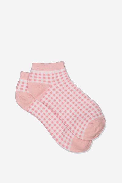 Gingham Ankle Cut Socks, PINK/WHITE