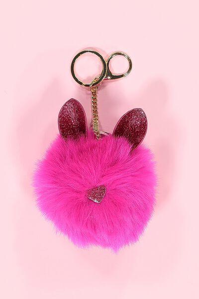 Faux Fur Glitter Ears Keyring, HOT PINK