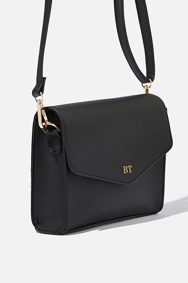 Personalised Sia Envelope Cross Body Bag, BLACK TEXTURE