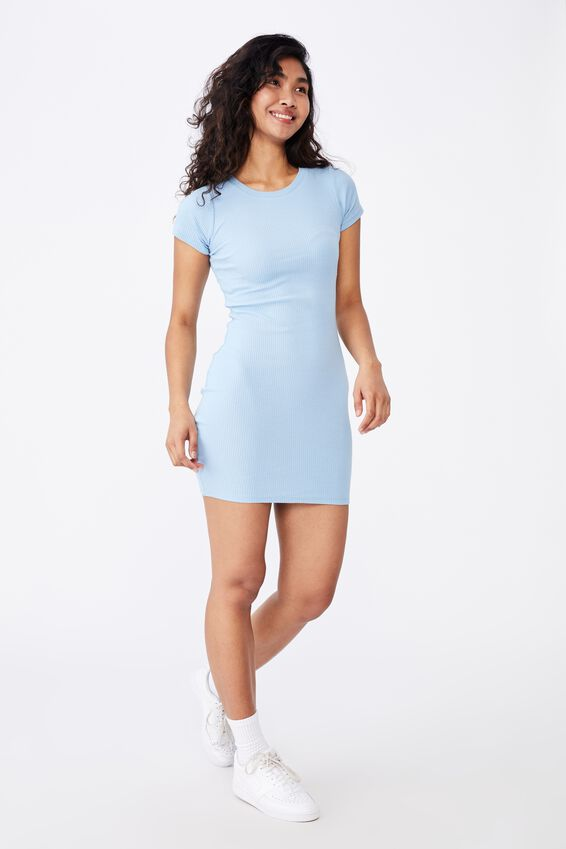 Lucia Rib Tee Mini Dress, BLUE PETAL