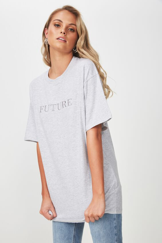 The Bike Short Oversized Tee, GREY MARLE/FUTURE
