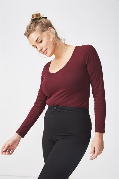 Basic Long Sleeve Longline Deep V Neck Top, WINE