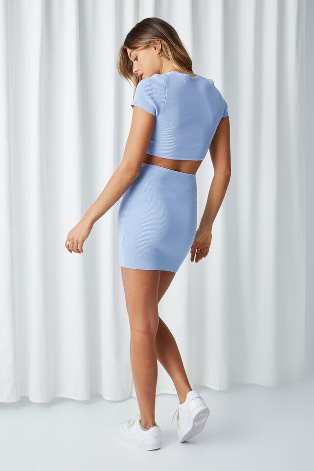 Evie Short Sleeve Cut Out Mini Dress, BLUE MOON