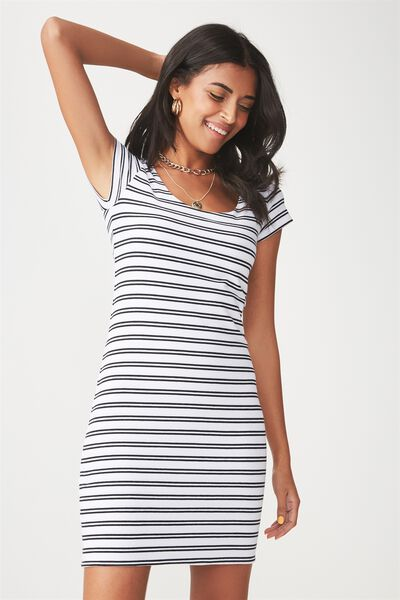 Short Sleeve Bodycon Dress, STRIPE