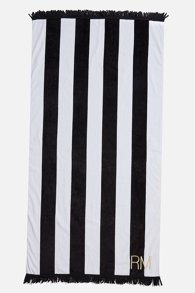 Personalised Beach Towel, BLACK/WHITE STRIPE