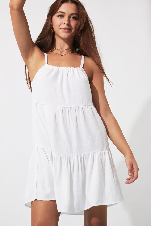 Chelsea Tie Shoulder Dress, WHITE