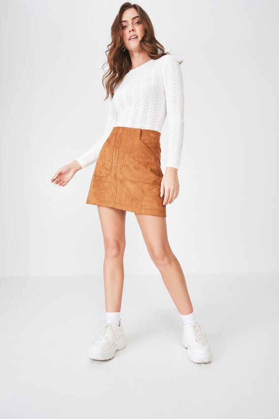 Mila Long Sleeve Pointelle Knit, WHITE