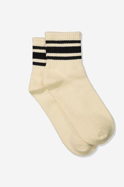 Wide Stripe Sporty Crew Socks, NATURAL/BLACK