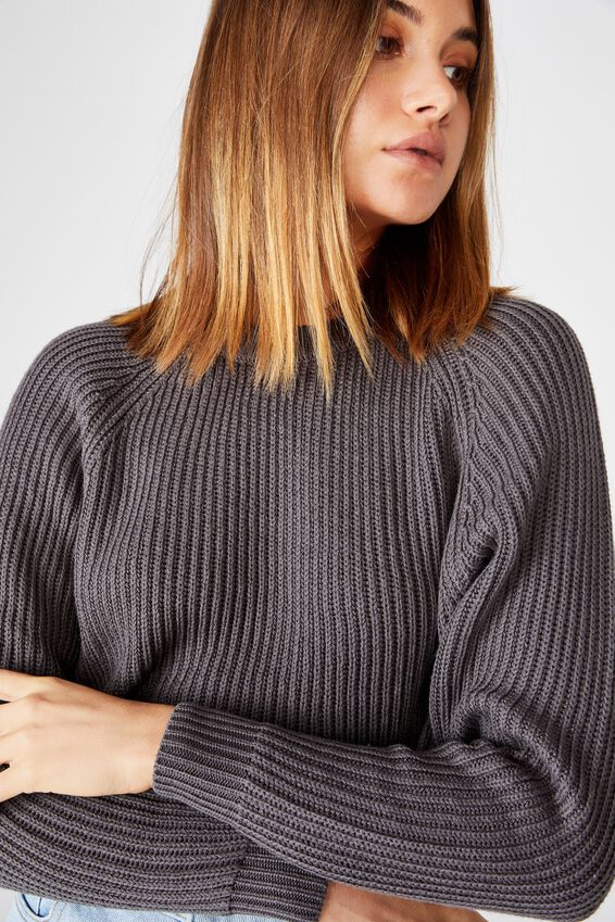 Molly Crew Neck Crop Knit, GRANITE GREY