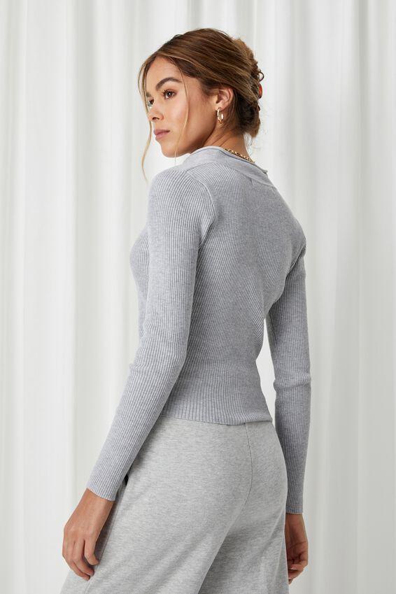 Nancy Quarter Zip Knit Top, GREY MARLE