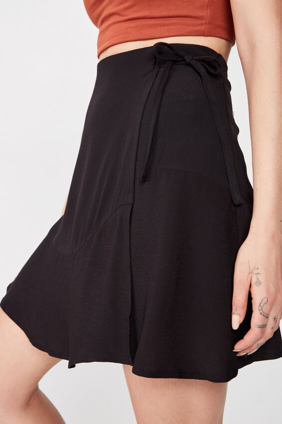 Macie Wrap Skirt, BLACK