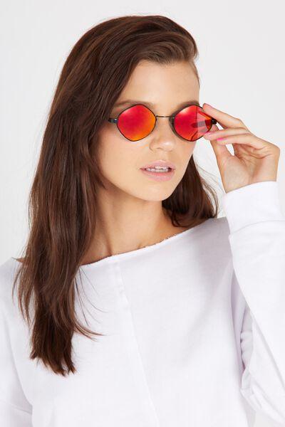 Irregular Round Sunglasses, RED/BLACK