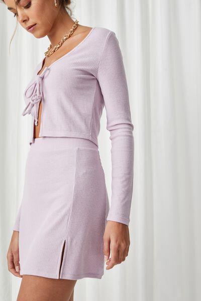 Willa Rib Mini Skirt Co Ord, PALE JASMINE