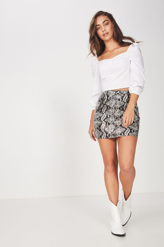 Pu Zipper Detail Mini Skirt, PYTHON