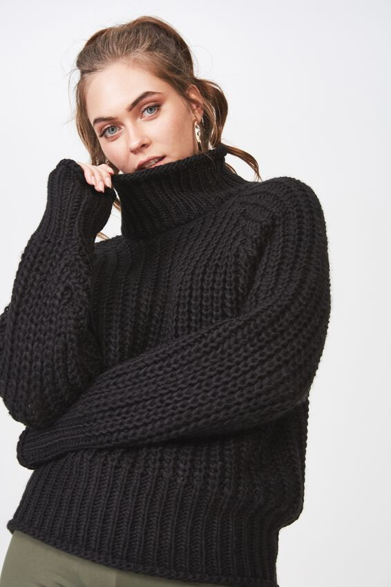 Lily Long Sleeve High Neck Knit, BLACK
