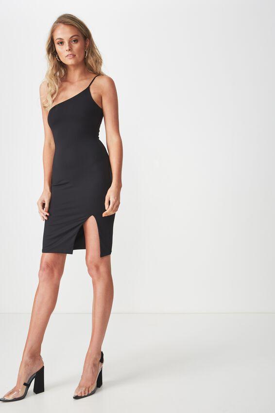 Party One Shoulder Mini Dress, BLACK