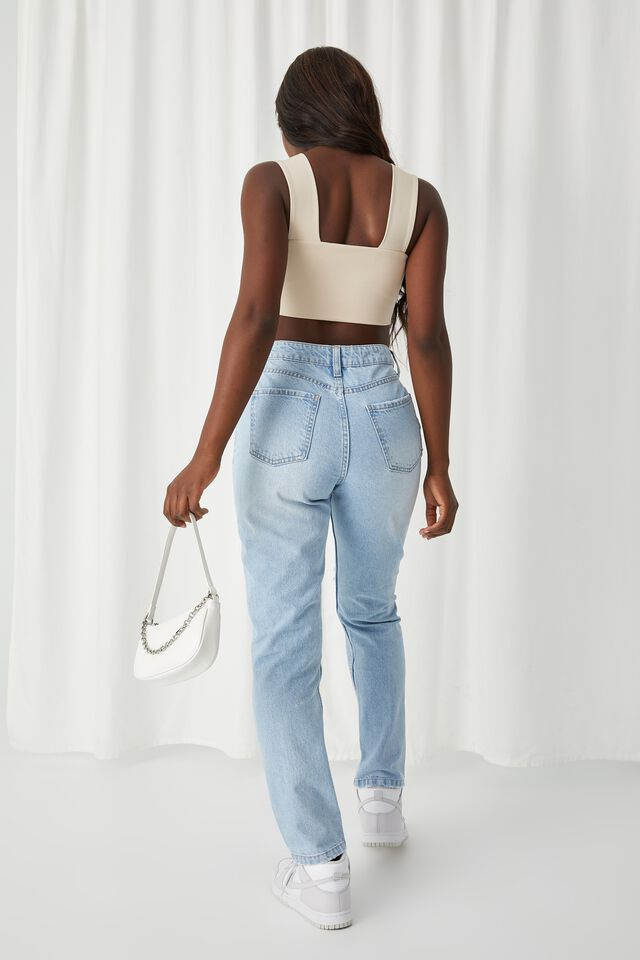 Mom Ripped Jean, SKY BLUE RIPPED
