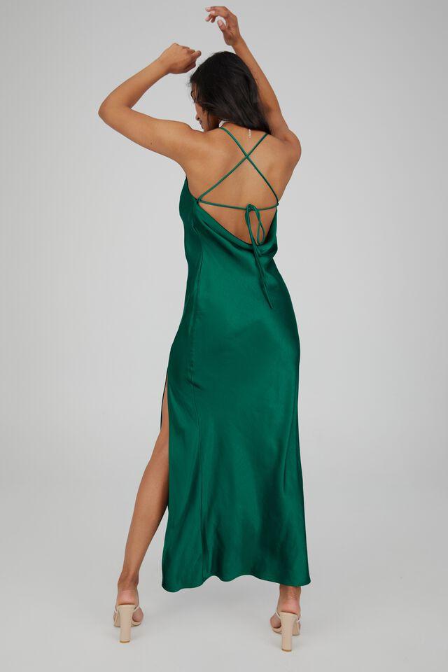 Caitlyn Cowl Neck Formal Dress, PINE GREEN