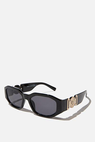 Audrina Statement Sunglasses, BLACK/GOLD