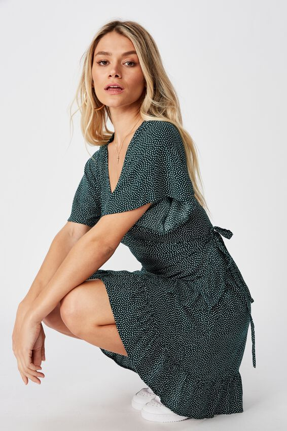 Emily Wrap Dress, RICE SPOT GREEN