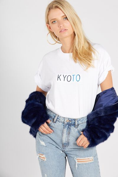 Printed Loose Tee, WHITE/KYOTO