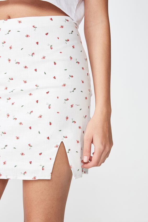 Lily Split Front Mini Skirt, KIKI PINK DITSY