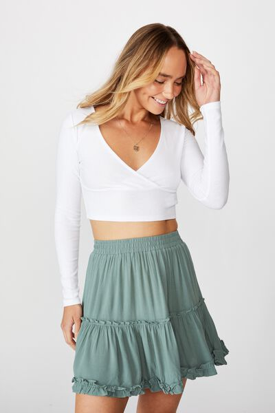 Delilah Tiered Mini Skirt, CAMPER GREEN