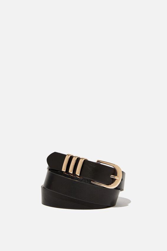 Delilah Triple Beltloop Belt, BLACK/GOLD