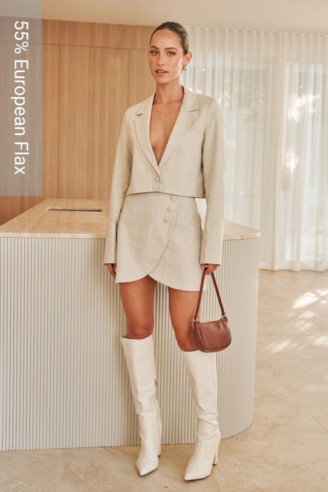 Cece Linen Blend Mini Skirt, BEIGE BUFF