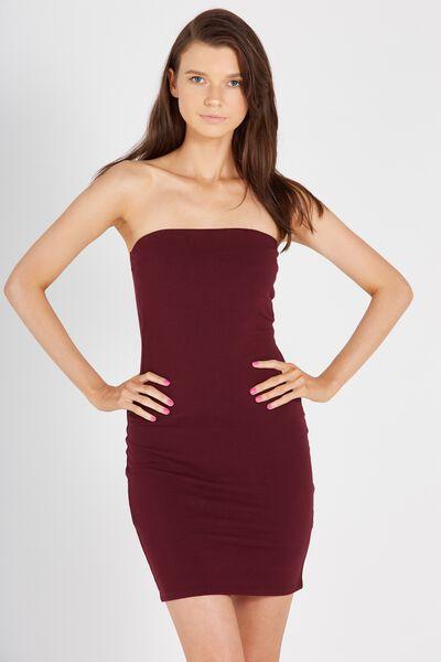 Boobtube Dress, WINE