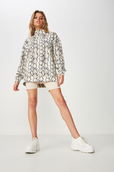 Lucy Long Sleeve Boyfriend Sweat, HEATHER PYTHON