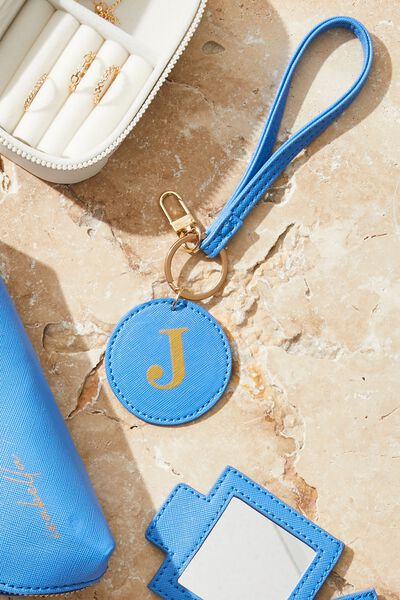 Personalised Round Keyring, MYKONOS BLUE TEXTURE