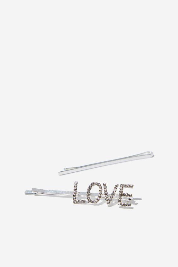 Embellished Hair Pins, LOVE