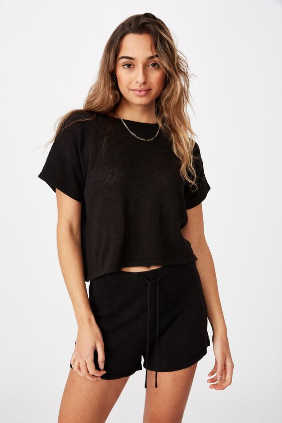 Brittany Tee Knit Co Ord, BLACK