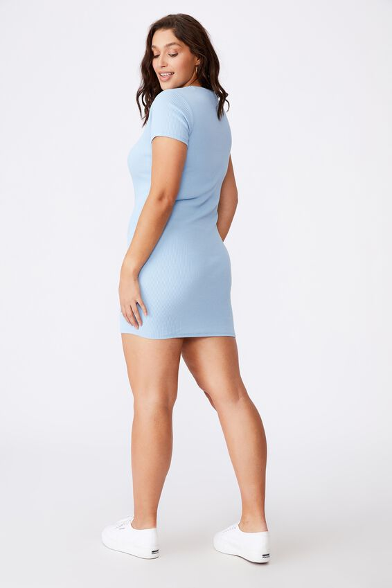 Lucia Rib Tee Mini Dress, CAPRI BLUE