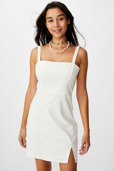 Bianca Wide Strap Cami Dress, WHITE