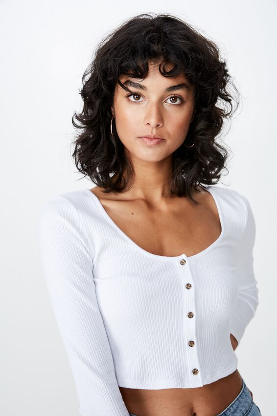 Scoop Neck Long Sleeve Rib Top, WHITE
