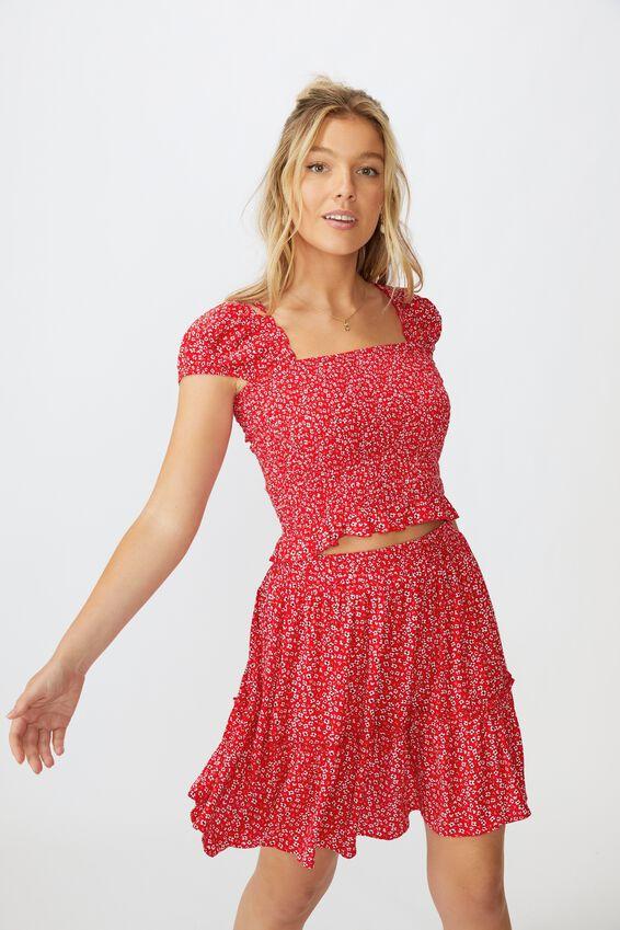 Kaiya Frill Hem Skirt, FLOWY FLORAL RED