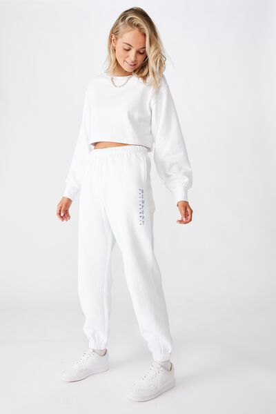 Melody High Waist Graphic Track Pant, WHITE/NEWPORT