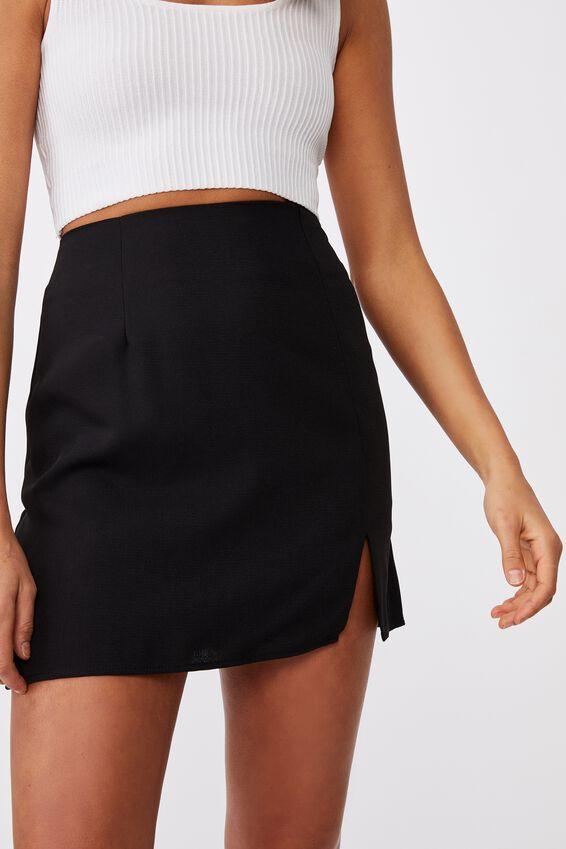 Natasha Waffle Skirt, BLACK