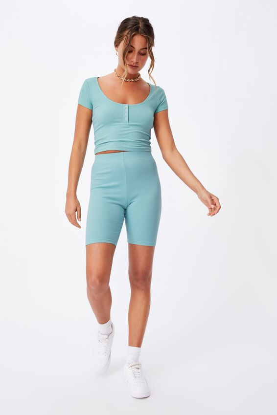 Laney Snap Button Short Sleeve Top, CHALKY TEAL