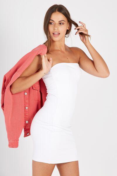 Basic Long Boobtube Dress, WHITE