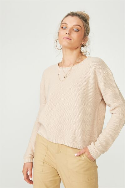 Alice Waffle Knit Top, MOONLIGHT (STONE)