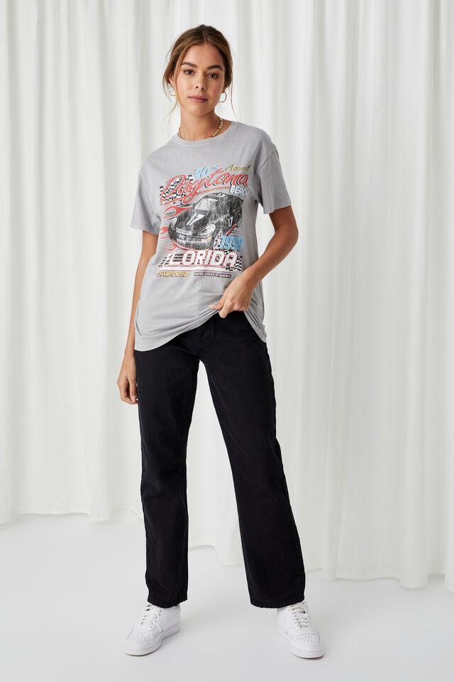 Lola Printed Longline T Shirt, VINTAGE WASH PEARL GREY/DAYTONA RACER