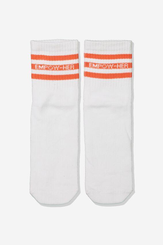 90S Slogan Crew Socks, EMPOW-HER