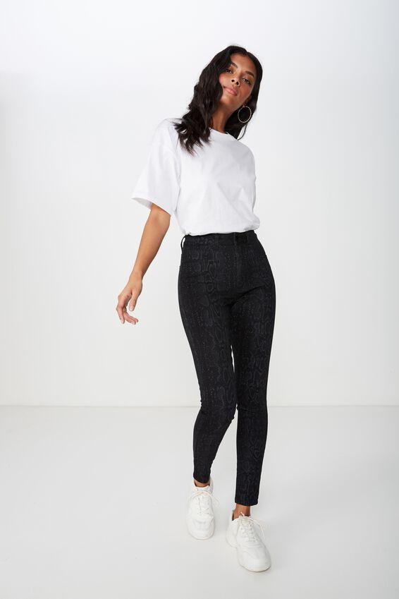 Super Skinny Jean, BLACK SNAKE PRINT