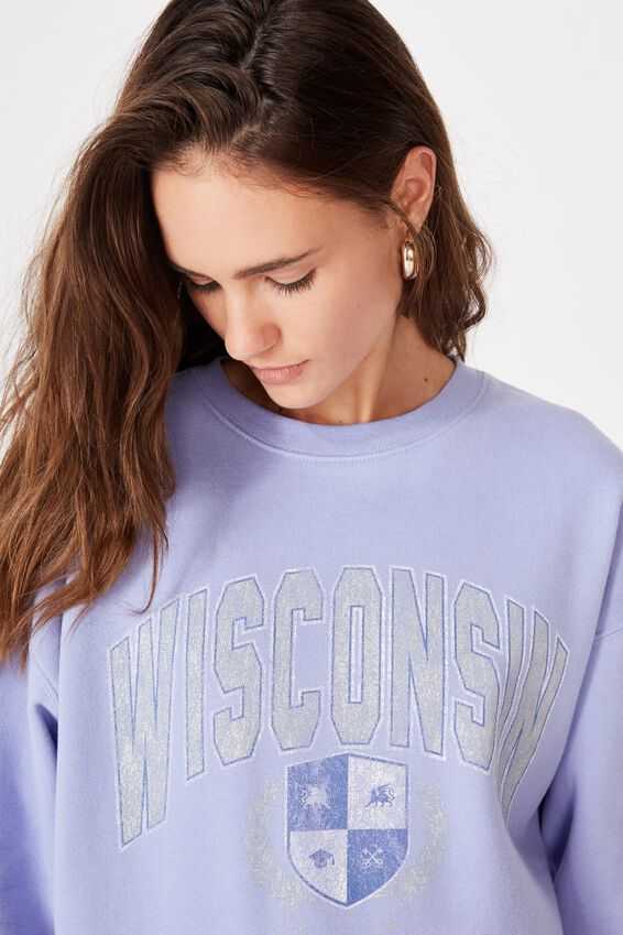 Oversized Crew Neck Jumper, BLUE VIOLET/WISCONSIN EMBLEM