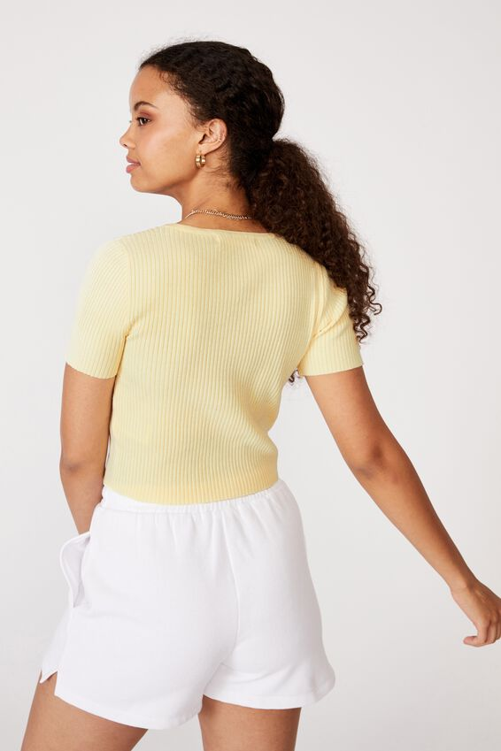 Liv Short Sleeve Button Through, MELLOW YELLOW